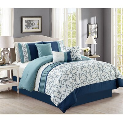 Menedemus Embroidery 7 Piece Comforter Set Size: Queen