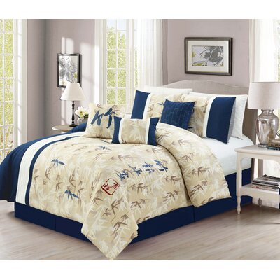 Romero Bamboo Embroidery 7 Piece Comforter Set Size: Queen
