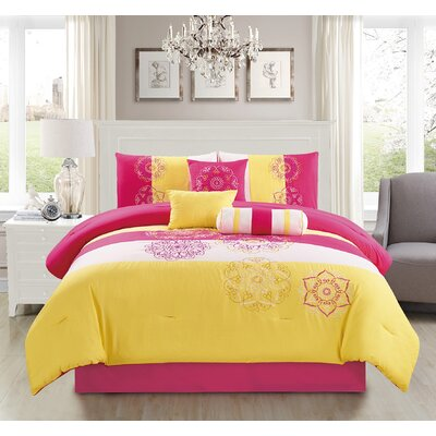 Carlotta Embroidered 7 Piece Comforter Set Size: King