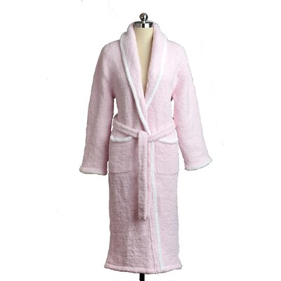 Shawl Collar Robe Color: Pink/White