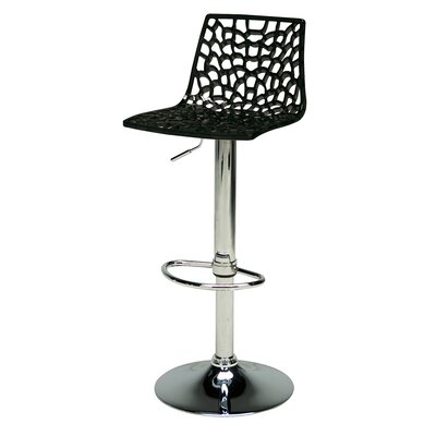 Adjustable Height Swivel Bar Stool Finish: Glossy Black