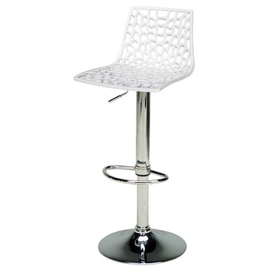 Adjustable Height Swivel Bar Stool Finish: Glossy White