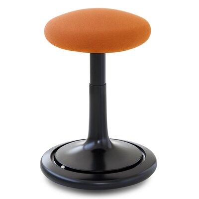 Adjustable Height Bar Stool Upholstery: Black/Orange