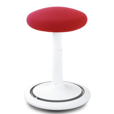 Adjustable Height Bar Stool Upholstery: White/Red/Gray