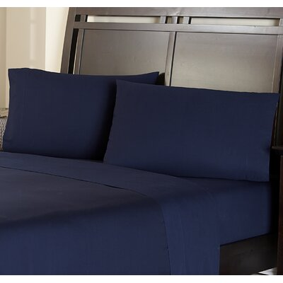 Haleigh 310 TC 100% Cotton Pillowcase Set Size: Standard, Color: Navy Blue