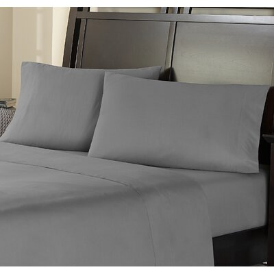 Haleigh 310 TC 100% Cotton Pillowcase Set Size: King, Color: Pewter