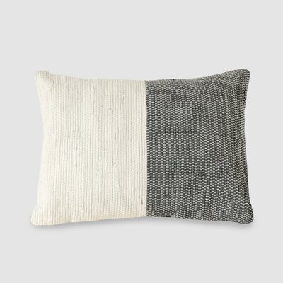 Charisse Spun Threads with a Soul� 100% Cotton Lumbar Pillow Color: Ivory/Gray