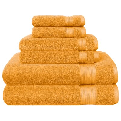 6 Piece Towel Set Color: Honey Gold