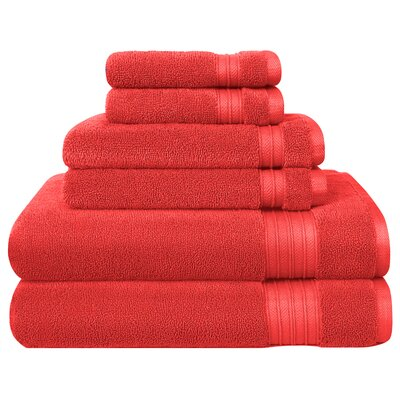 6 Piece Towel Set Color: Orange Rush