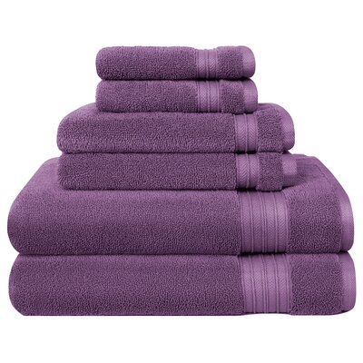 6 Piece Towel Set Color: Lilac
