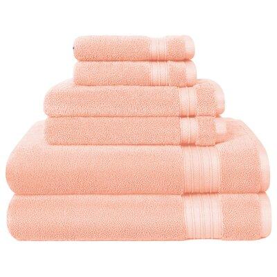 6 Piece Towel Set Color: Peach