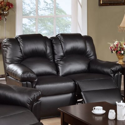 Jacob Reclining Loveseat Upholstery: Black
