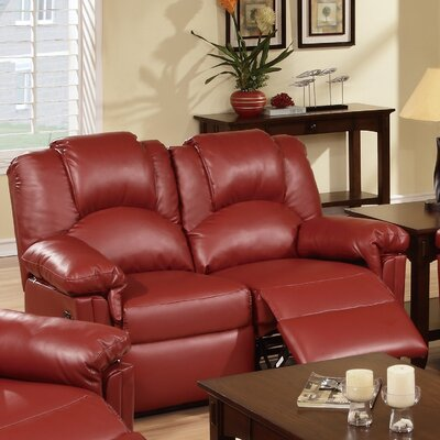 Jacob Reclining Loveseat Upholstery: Red