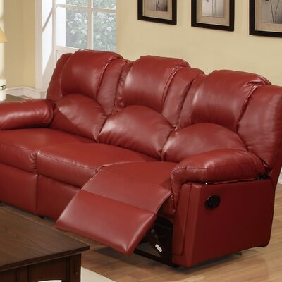Jacob Reclining Sofa Upholstery: Red