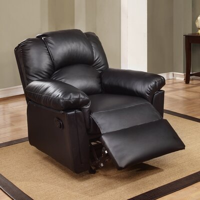 Jacob Manual Glider Recliner Upholstery: Black
