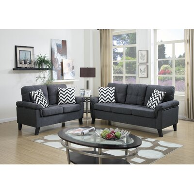 2 Piece Living Room Set Upholstery: Blue Gray