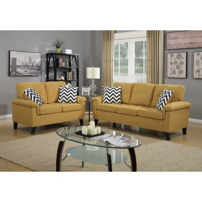 Sofa and Loveseat Set Upholstery: Citrus Yellow
