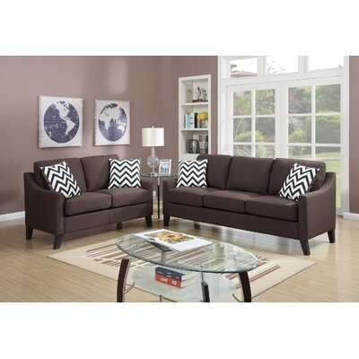 2 Piece Living Room Set Upholstery: Chocolate Brown