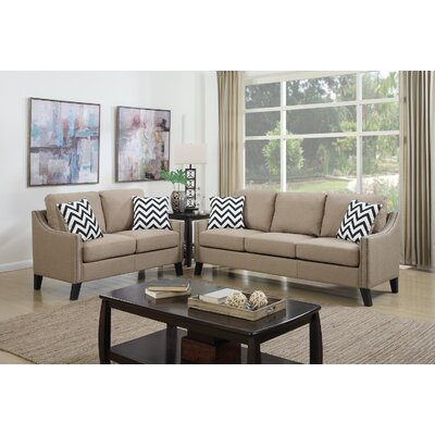 2 Piece Living Room Set Upholstery: Sand Beige
