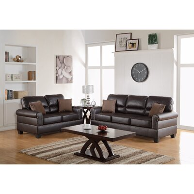 2 Piece Living Room Set Upholstery: Espresso Brown