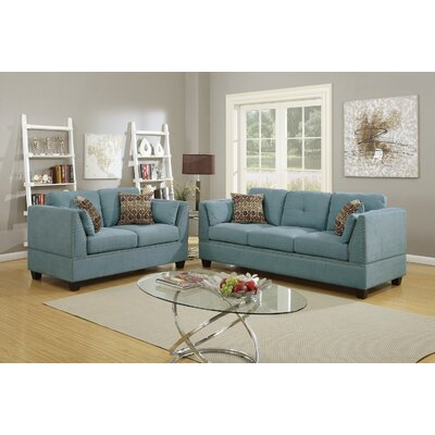 2 Piece Living Room Set Upholstery: Hydra Blue