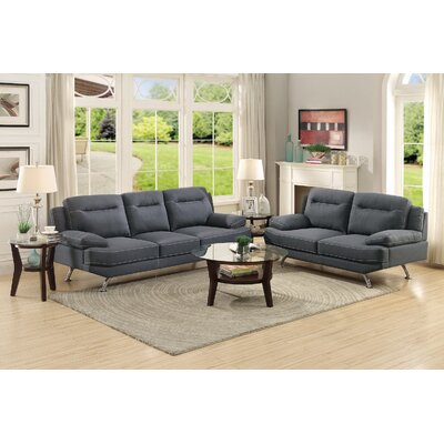 Sofa and Loveseat Set Upholstery: Blue Gray