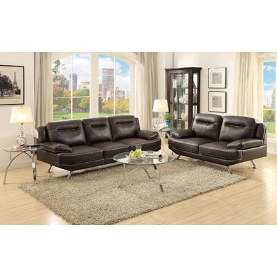 Sofa and Loveseat Set Upholstery: Espresso