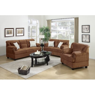 3 Piece Living Room Set Upholstery: Saddle Tan