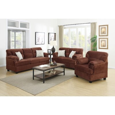 3 Piece Living Room Set Upholstery: Chocolate Brown