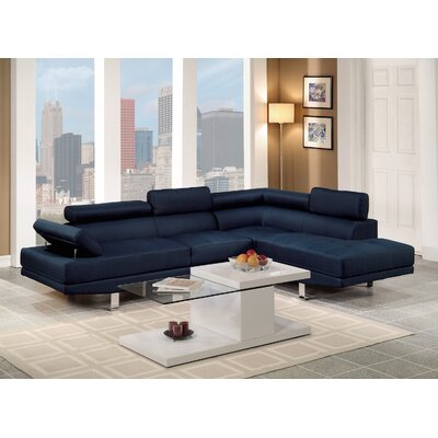 Reclining Sectional Upholstery: Navy Blue