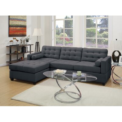 Sectional Upholstery: Gray Black