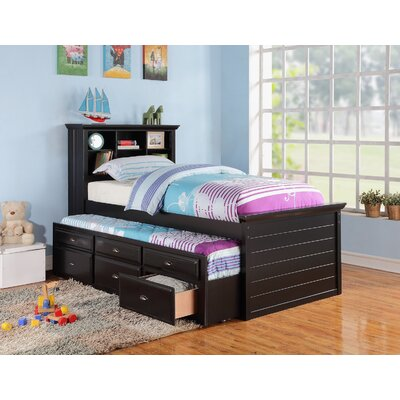 Twin Captain Bed with Trundle and Storage Finish: Black