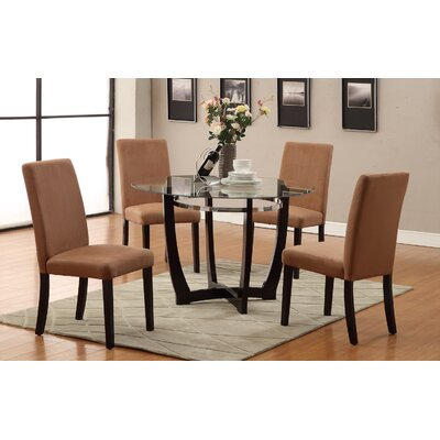 5 Piece Dining Set Upholstery: Saddle Tan