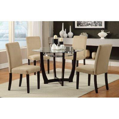 5 Piece Dining Set Upholstery: Hazelnut Beige
