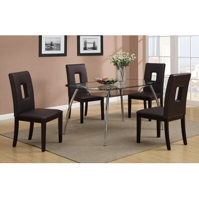 5 Piece Dining Set Upholstery: Dark Brown