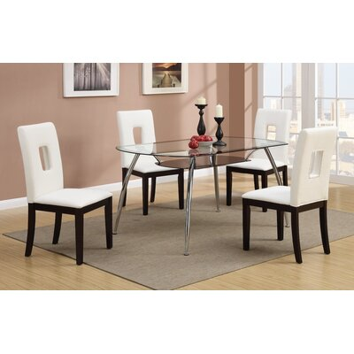 5 Piece Dining Set Upholstery: Cream White