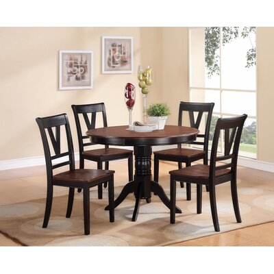 5 Piece Dining Set Finish: Slate Black