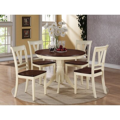 5 Piece Dining Set Finish: Antique White