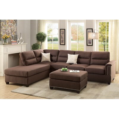 Wardlow Reversible Sectional Upholstery: Chocolate Brown
