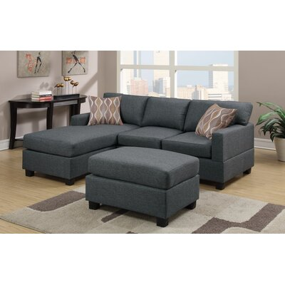 Reversible Chaise Sectional Upholstery: Blue Charcoal Grey