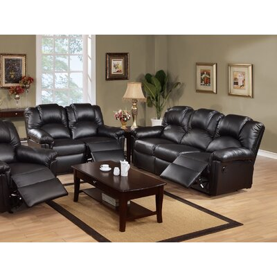 Jacob Reclining Sofa and Loveseat Set Upholstery: Black