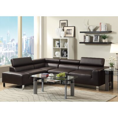 Sectional Upholstery: Espresso Dark Brown