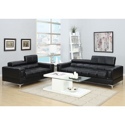 2 Piece Living Room Set Upholstery: Black