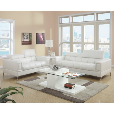 2 Piece Living Room Set Upholstery: White