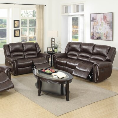 Ingaret Reclining Sofa and Loveseat Set Upholstery: Dark Brown