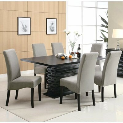 Jordan 7 Piece Dining Set Upholstery: Light Gray