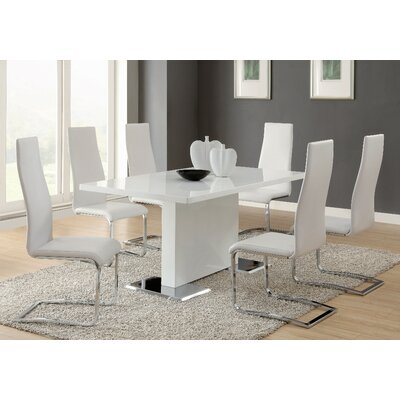 7 Piece Dining Set Chair Finish: White