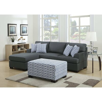 Reversible Chaise Sectional Upholstery: Charcoal