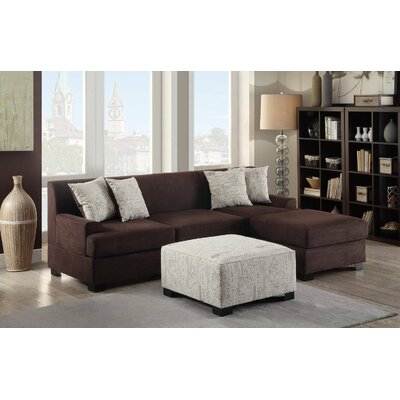 Reversible Chaise Sectional Upholstery: Brown