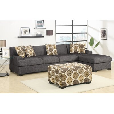Reversible Chaise Sectional Upholstery: Black